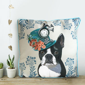 Boston Terrier Cushion, The Milliners Dogs - bedroom