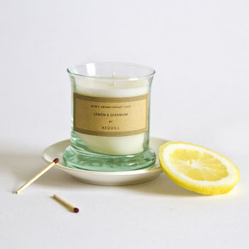Uplifting Lemon And Geranium Scented Candle