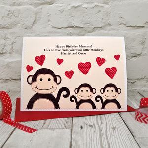 'Monkey' Birthday Card From Two Or Three Children - birthday cards
