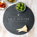 Personalised Chefs Slate Round Serving Board For Men