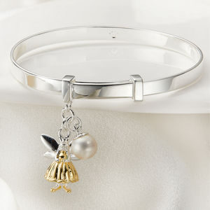 Personalised Gold Vermeil Fairy Christening Bangle