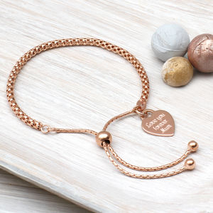 Personalised Rose Gold Friendship Bracelet - gifts for her