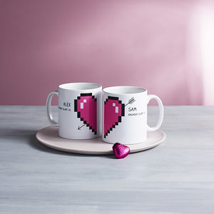 Personalised Pixel Love Heart Mugs Pair - mugs