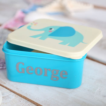 Personalised Elephant Print Mini Lunch Box
