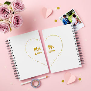 Mr And Mrs Wedding Notebook Pair - wedding wedmin