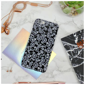 Monochrome Bicycle Pattern Phone Case - phone covers & cases