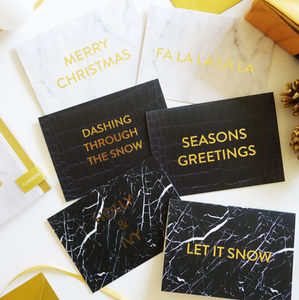 Luxury Gold Foil Marble Set Of Christmas Cards - winter sale