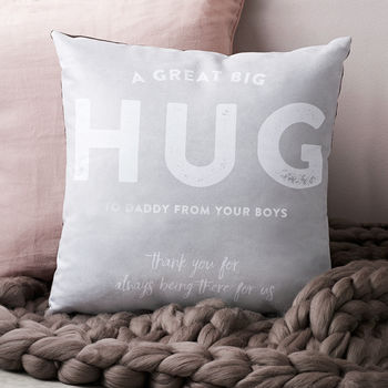 'A Great Big Hug' Personalised Cushion