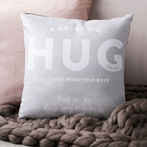 'A Great Big Hug From Me To You' Personalised Cushion - gifts for grandparents
