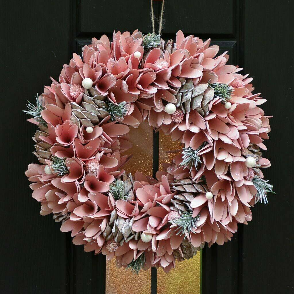 Winter Sparkle Pink Christmas Door Wreath by Dibor