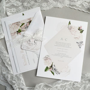 Vintage Florals Wedding Invitation - wedding stationery