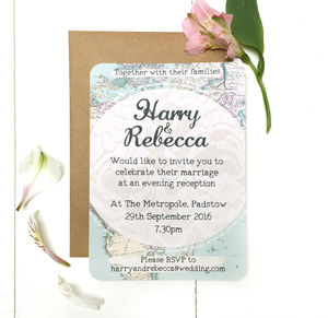 Travel Inspired Evening Wedding Reception Invitation