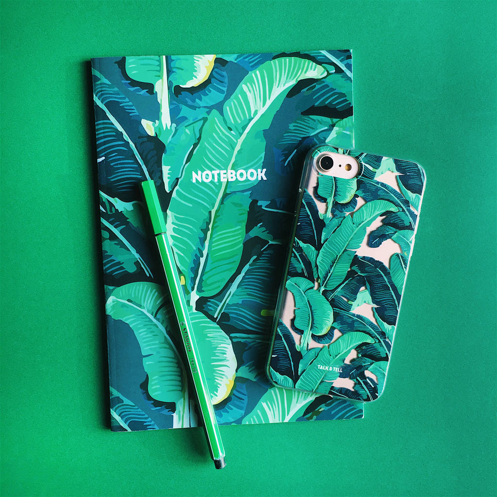 Tropical Banana Leaf I Phone Case And Notebook by Talk &Amp; Tell