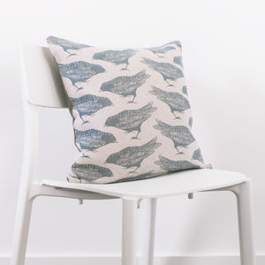 Hopping Bird Cushion With Tweed Back