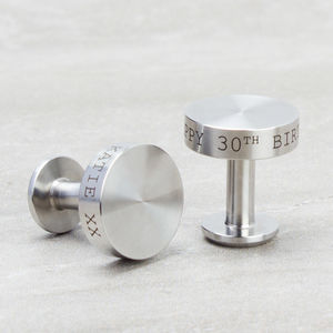 Personalised Stainless Steel Cufflinks - gifts for the groom
