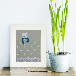 Snoozy Bear Textile Picture