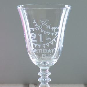 Happy 21st Birthday Personalised Wine Glass