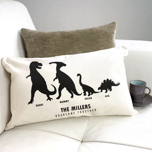 Personalised Family Dinosaur Cushion - housewarming gifts