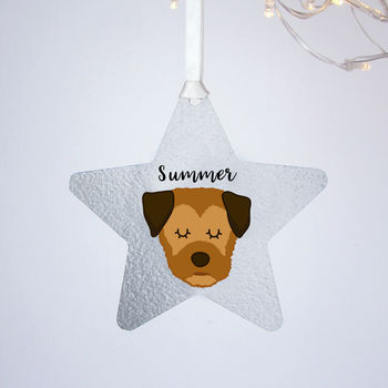 Border Terrier Silver Printed Christmas Decoration