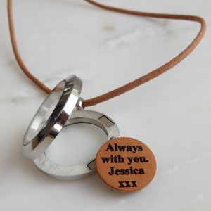 Personalised Memory Locket Leather Necklace
