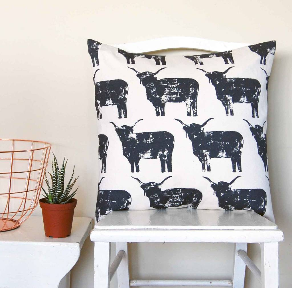 Large Square Highland Cow Cushion