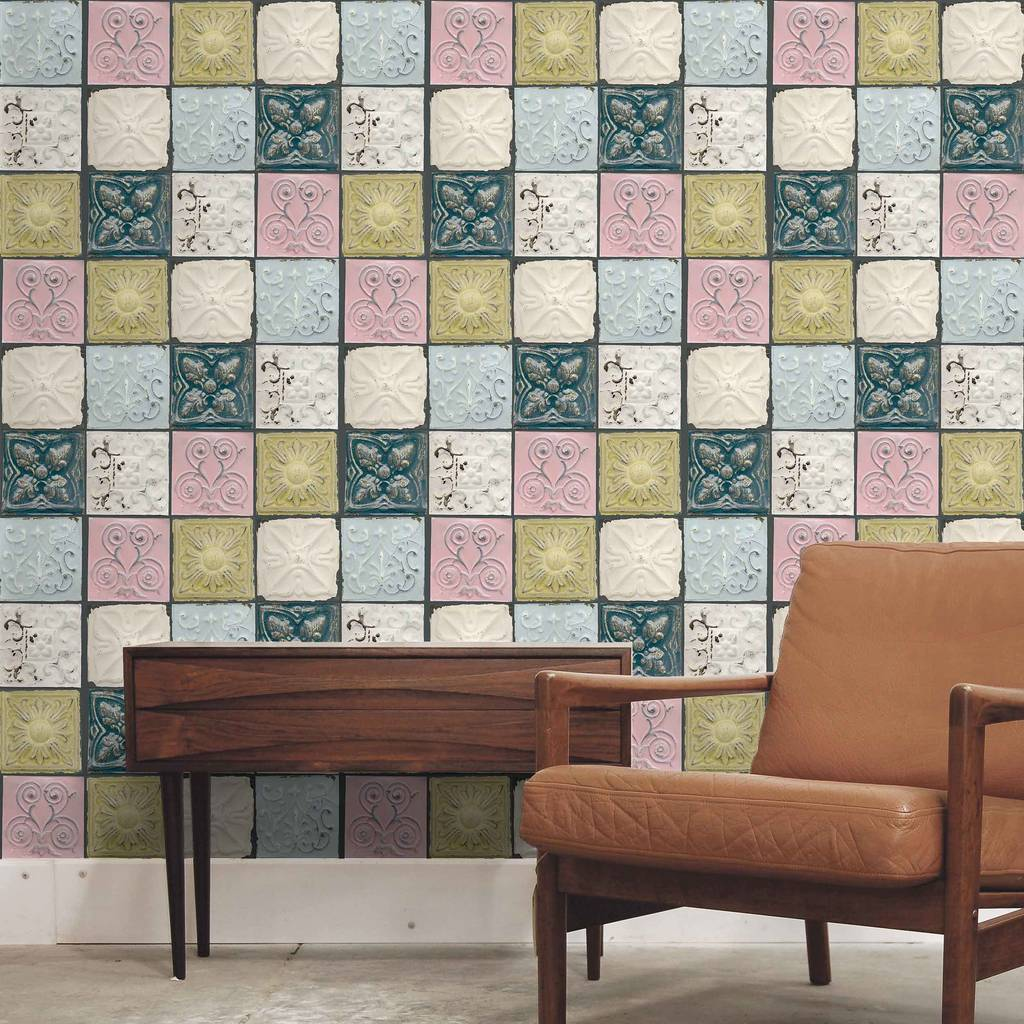Tin tile in colour by woodchip and magnolia by woodchip magnolia - American tin tiles wallpaper ...
