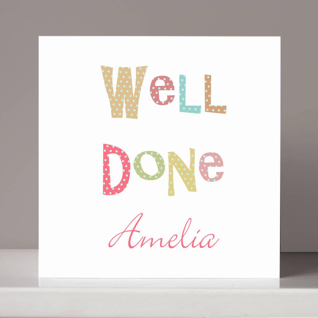 Personalised Well Done Congratulations Card By Molly Moo Designs