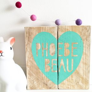 Personalised Reclaimed Wood Heart Sign - mixed media pictures for children