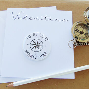 Valentine's Card With Compass Badge/Magnet