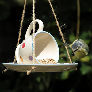 Hanging Teacup Bird Feeder - bird feeders