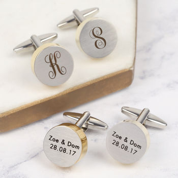 Personalised Stainless Steel And Gold Disc Cufflinks
