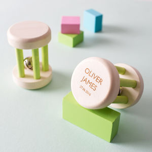 Personalised Wooden Baby Rattle Bell Toy