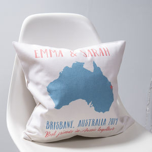 Special Location Map Cushion - travel inspired wedding gifts