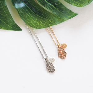 Personalised Diamante Hamsa Necklace