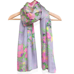 Large 'Pink Flowers' Pure Silk Scarf