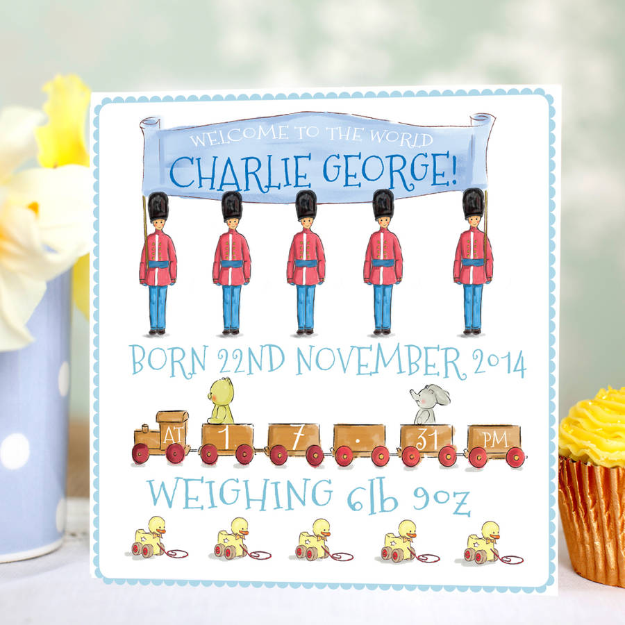 Personalised New Baby Boy Card 'Toys'