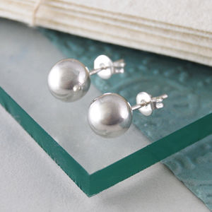Large Classic Sterling Silver Ball Stud Earrings