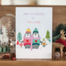 Personalised Baby's First Christmas Penguins Card