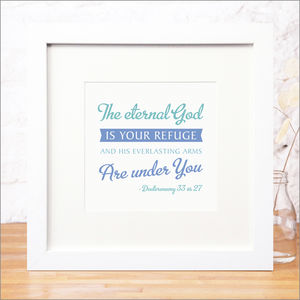 'God Is Your Refuge' Contemporary Bible Verse Print