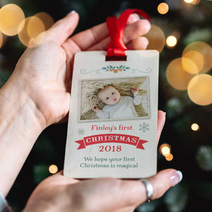 Baby's First Christmas Wooden Tag Keepsake Decoration - last minute christmas gifts
