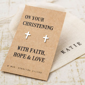 Christening Gift Silver Earrings - earrings