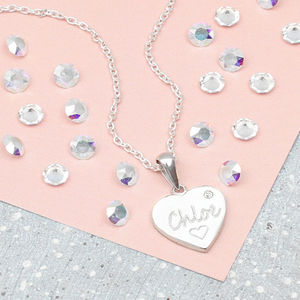 'My First Diamond ' Personalised Heart Necklace - children's jewellery