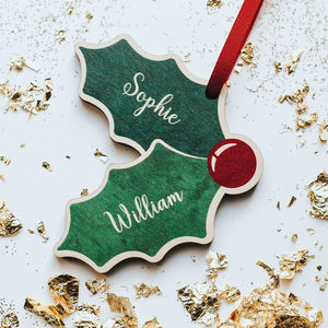 Personalised Couple Wood Christmas Decoration Holly
