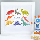 Personalised Baby Boy Dinosaur Art