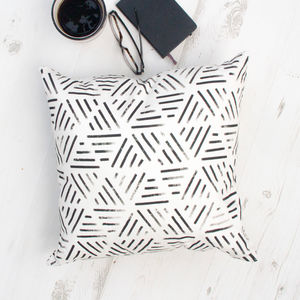 Monochrome Geometric Line Pattern Cushion - cushions