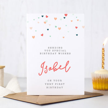 Personalised Girl's First Birthday Card