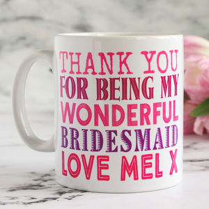 Personalised Bridesmaid's Thank You Mug