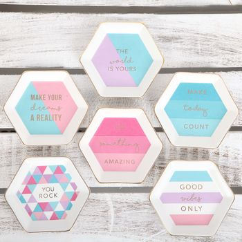 Hexagon Jewellery Trinket Dish With Slogan In Gift Box
