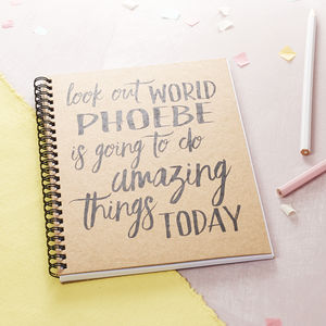 Personalised 'Look Out World' Journal - diaries, stationery & books
