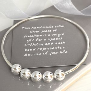 50th Birthday Handmade Silver Bangle - bracelets & bangles